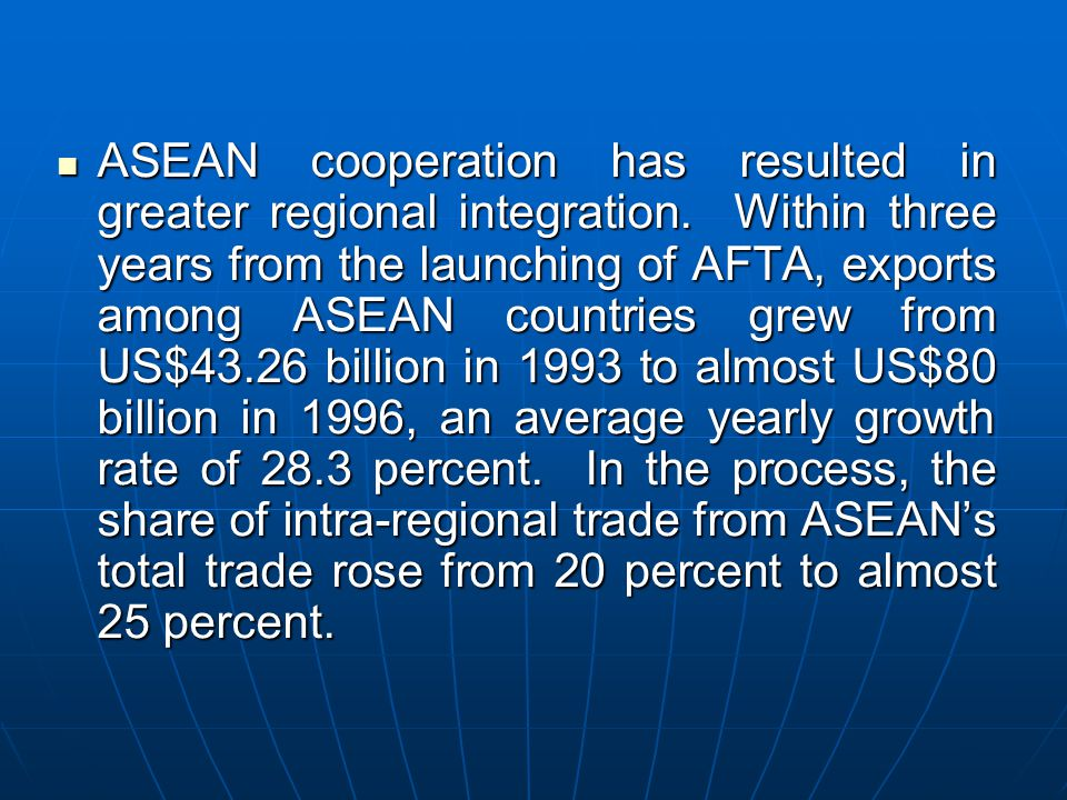ASEAN cooperation has resulted in greater regional integration. Within three years from the launching of AFTA, exports among ASEAN countries grew from