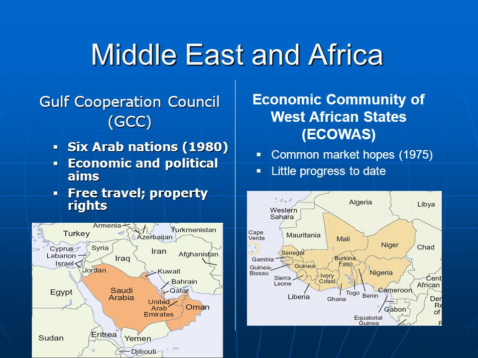 Middle East and Africa Gulf Cooperation Council (GCC)  Six Arab nations (1980)  Economic and political aims  Free travel; property rights Economic