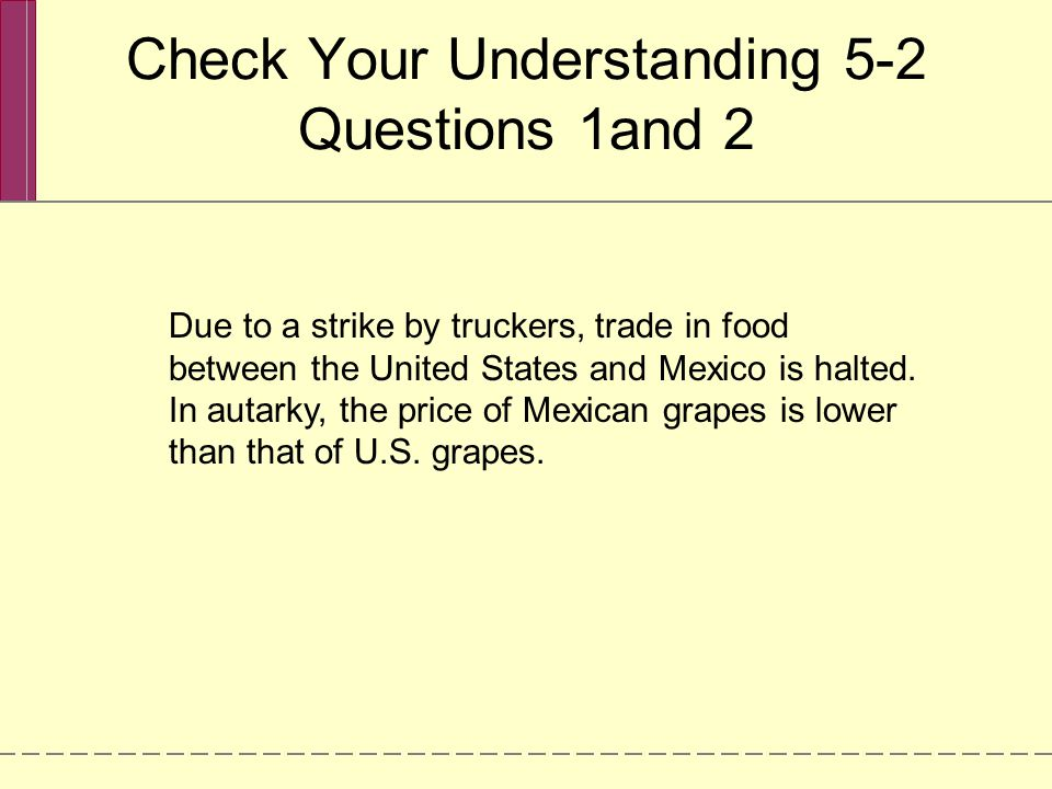 Check Your Understanding 5-2 Questions 1and 2 Due to a strike by truckers, trade in food between the United States and Mexico is halted.