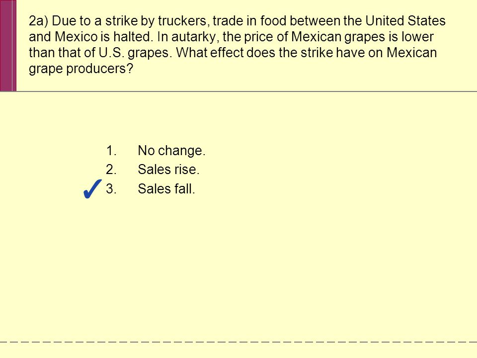 2a) Due to a strike by truckers, trade in food between the United States and Mexico is halted. In autarky, the price of Mexican grapes is lower than t
