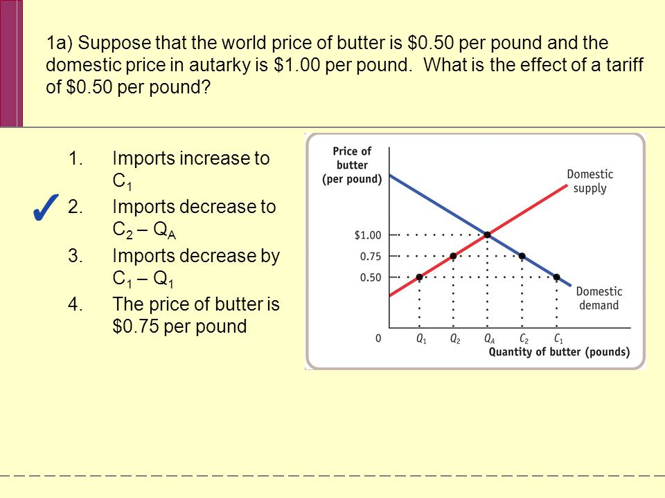 1a) Suppose that the world price of butter is $0.50 per pound and the domestic price in autarky is $1.00 per pound. What is the effect of a tariff of