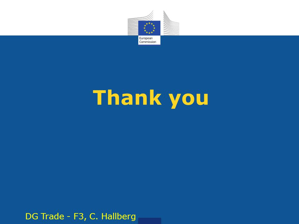 Thank you DG Trade - F3, C. Hallberg