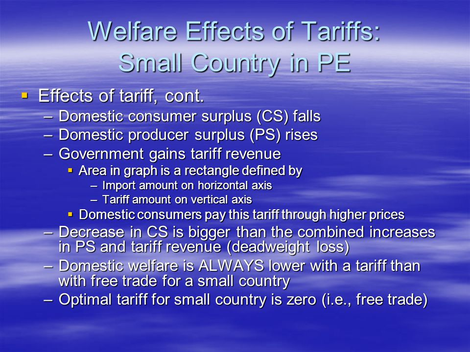 Welfare Effects of Tariffs: Small Country in PE  Effects of tariff, cont.