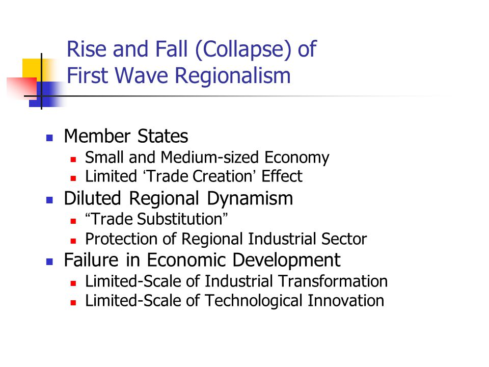 Rise and Fall (Collapse) of First Wave Regionalism Member States Small and Medium-sized Economy Limited ' Trade Creation ' Effect Diluted Regional Dyn