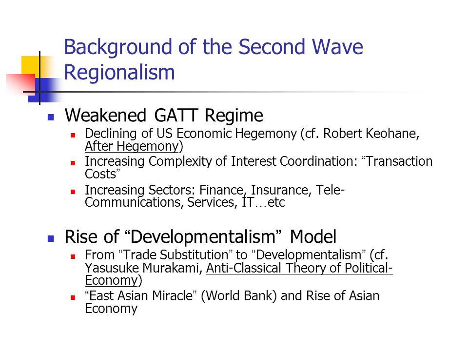 Background of the Second Wave Regionalism Weakened GATT Regime Declining of US Economic Hegemony (cf.