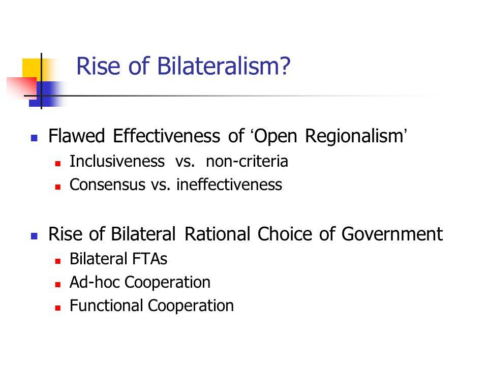 Rise of Bilateralism. Flawed Effectiveness of ' Open Regionalism ' Inclusiveness vs.