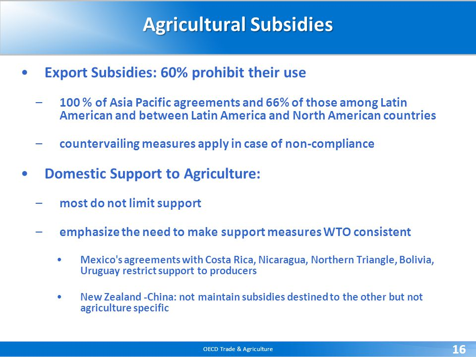 OECD Trade & Agriculture 16 Agricultural Subsidies Export Subsidies: 60% prohibit their use –100 % of Asia Pacific agreements and 66% of those among L
