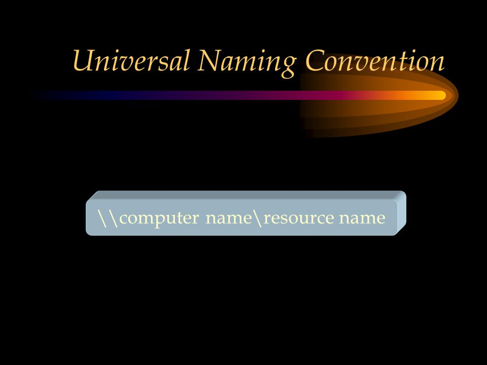 Universal Naming Convention \\computer name\resource name