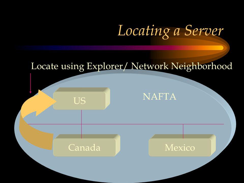 Locating a Server US CanadaMexico NAFTA Locate using Explorer/ Network Neighborhood