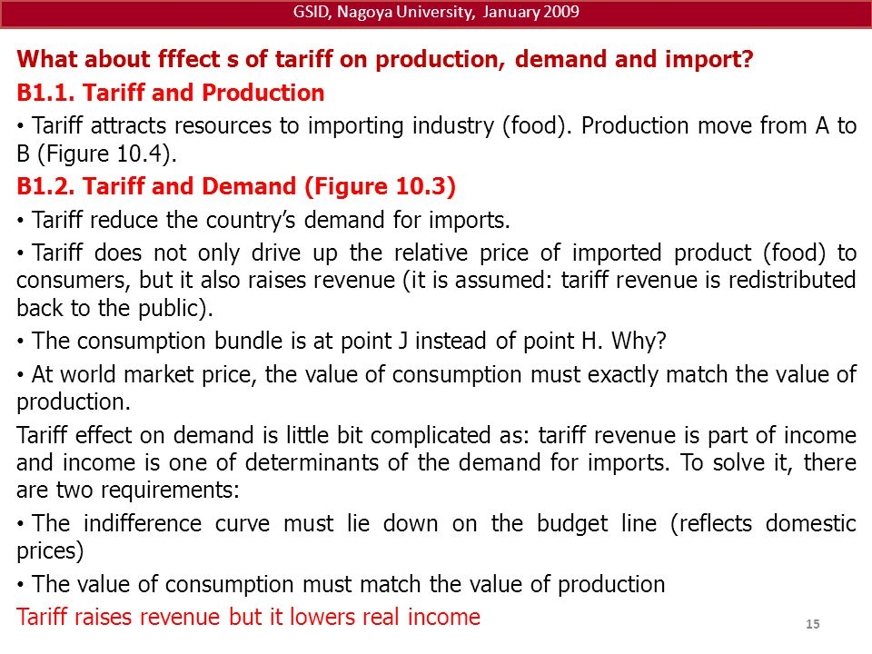 GSID, Nagoya University, January 2009 What about fffect s of tariff on production, demand and import? B1.1. Tariff and Production Tariff attracts reso