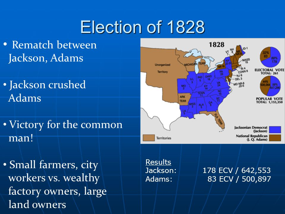 Election of 1828 Rematch between Jackson, Adams Jackson crushed Adams Victory for the common man.