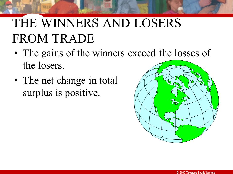 © 2007 Thomson South-Western THE WINNERS AND LOSERS FROM TRADE The gains of the winners exceed the losses of the losers. The net change in total surpl
