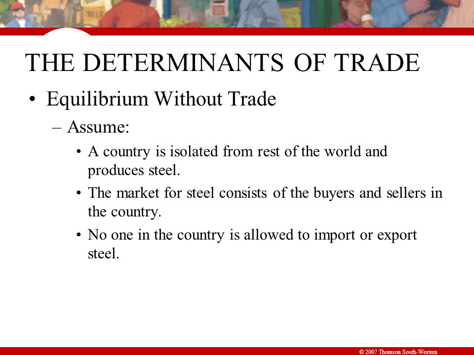 © 2007 Thomson South-Western Figure 1 The Equilibrium without International Trade Consumer surplus Producer surplus Price of Steel 0 Quantity of Steel Domestic supply Domestic demand Equilibrium price Equilibrium quantity