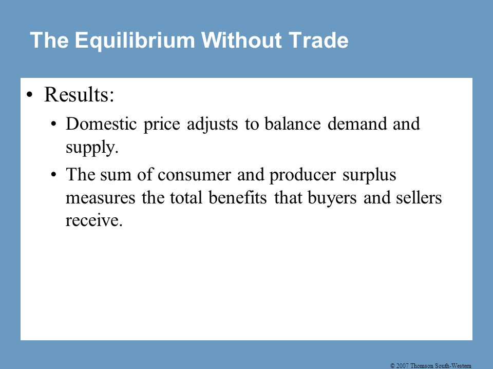 © 2007 Thomson South-Western Figure 3 International Trade in an Importing Country C B D A Price of Steel 0 Quantity of Steel Domestic supply Domestic demand Price after trade World price Imports Price before trade Consumer surplus before trade Producer surplus before trade
