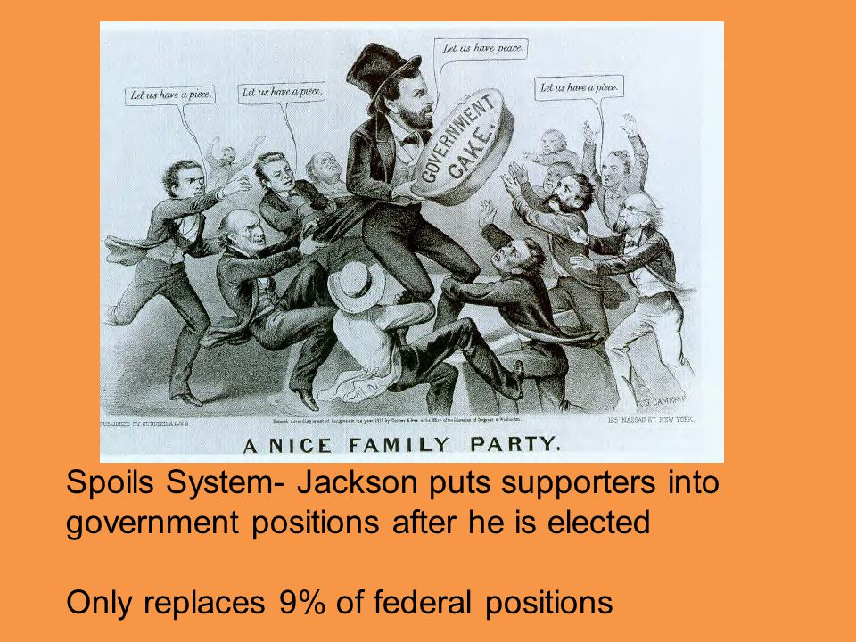 Spoils System- Jackson puts supporters into government positions after he is elected Only replaces 9% of federal positions