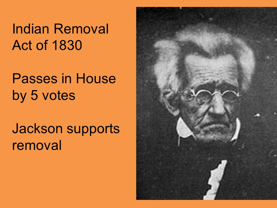 Indian Removal Act of 1830 Passes in House by 5 votes Jackson supports removal
