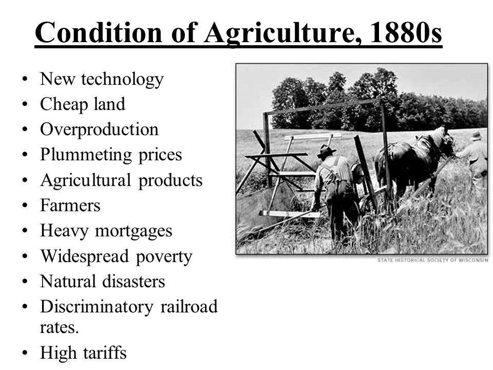 Condition of Agriculture, 1880s New technology Cheap land Overproduction Plummeting prices Agricultural products Farmers Heavy mortgages Widespread poverty Natural disasters Discriminatory railroad rates.