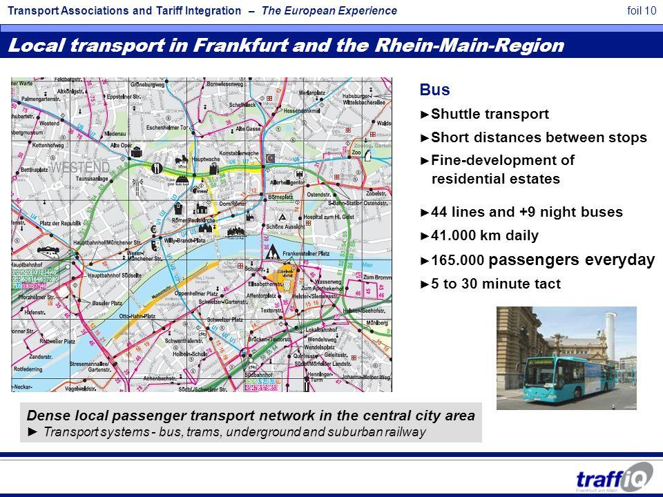 Transport Associations and Tariff Integration – The European Experiencefoil 10 Local transport in Frankfurt and the Rhein-Main-Region Bus ► Shuttle tr