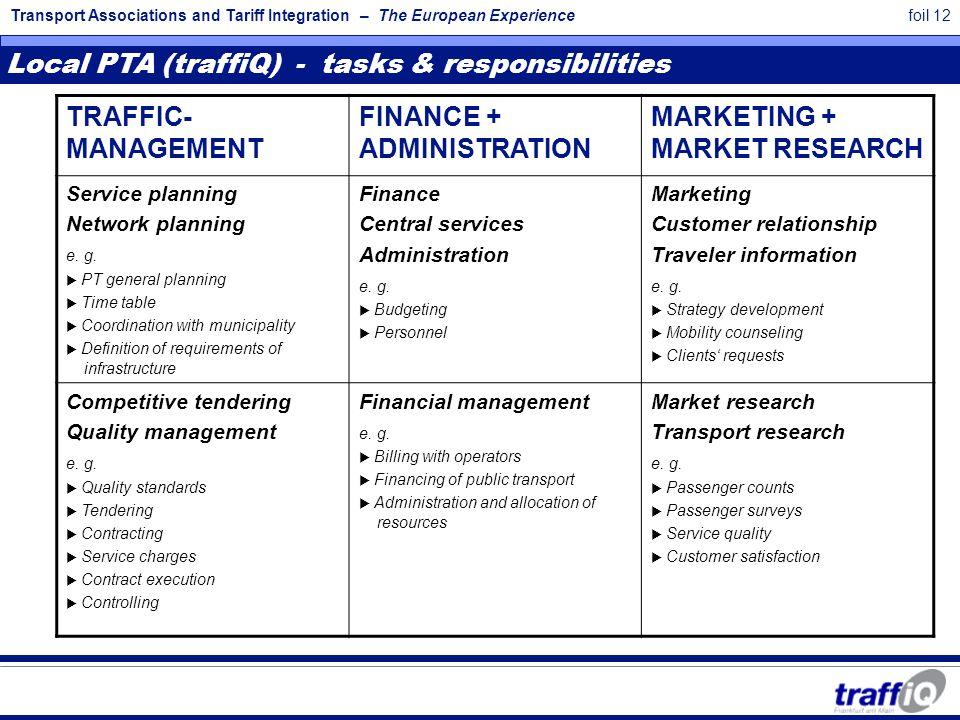 Transport Associations and Tariff Integration – The European Experiencefoil 12 TRAFFIC- MANAGEMENT FINANCE + ADMINISTRATION MARKETING + MARKET RESEARC