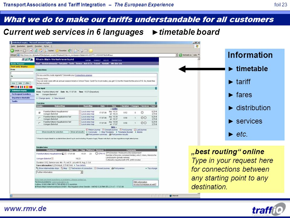 Transport Associations and Tariff Integration – The European Experiencefoil 23 What we do to make our tariffs understandable for all customers www.rmv.de Information ► timetable ► tariff ► fares ► distribution ► services ► etc.