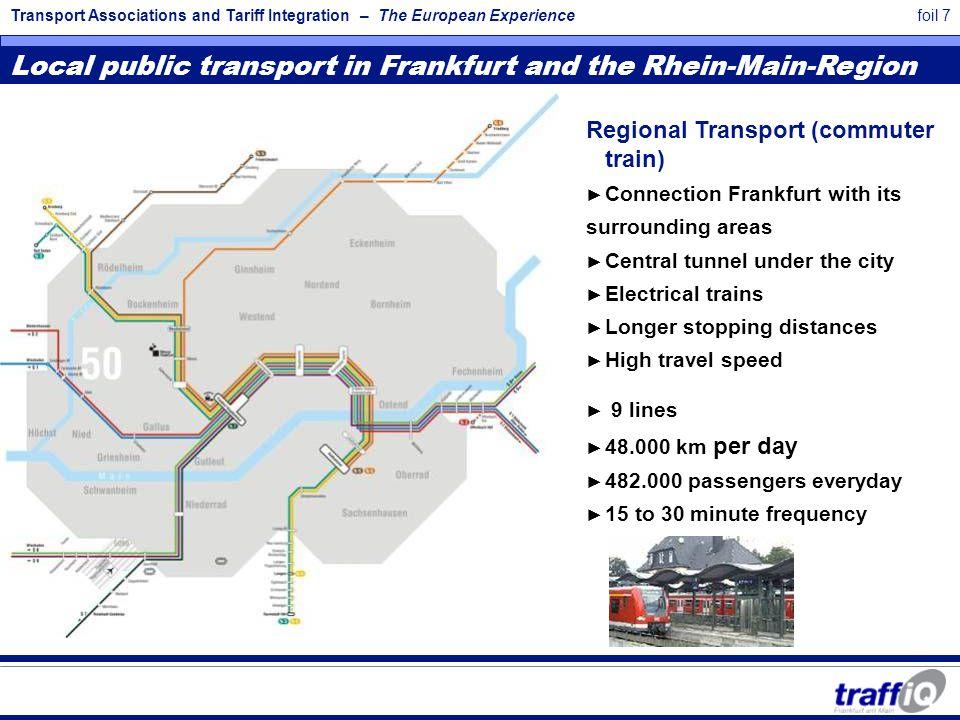 Transport Associations and Tariff Integration – The European Experiencefoil 7 Local public transport in Frankfurt and the Rhein-Main-Region Regional T