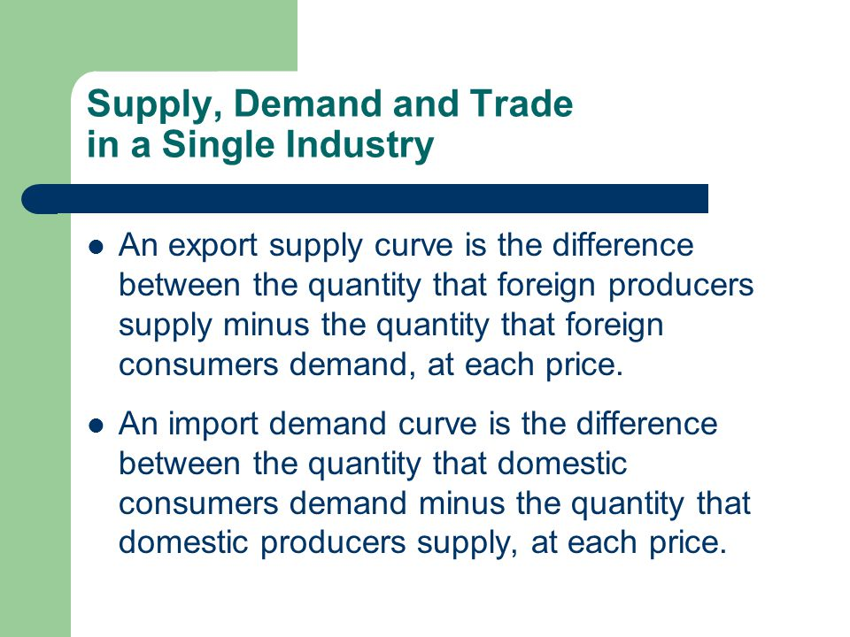 Supply, Demand and Trade in a Single Industry An export supply curve is the difference between the quantity that foreign producers supply minus the quantity that foreign consumers demand, at each price.