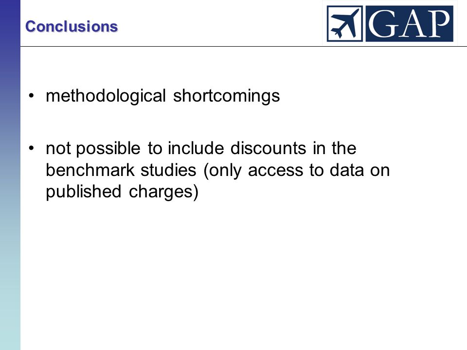 methodological shortcomings not possible to include discounts in the benchmark studies (only access to data on published charges) Conclusions