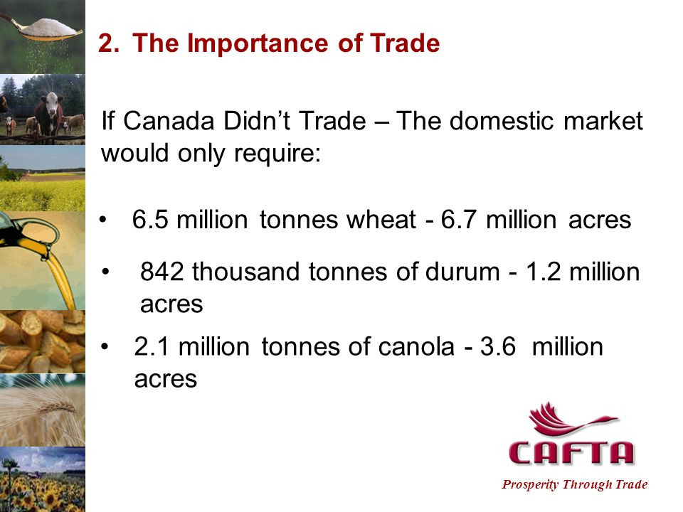 Prosperity Through Trade 2.The Importance of Trade If Canada Didn't Trade – The domestic market would only require: 6.5 million tonnes wheat - 6.7 million acres 842 thousand tonnes of durum - 1.2 million acres 2.1 million tonnes of canola - 3.6 million acres
