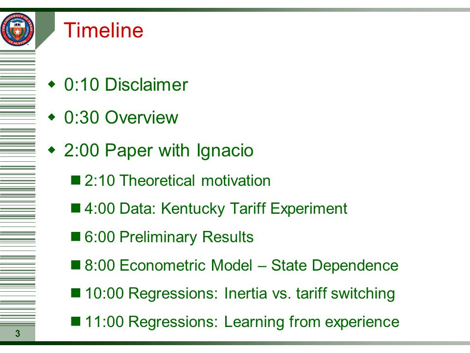 3 Timeline  0:10 Disclaimer  0:30 Overview  2:00 Paper with Ignacio 2:10 Theoretical motivation 4:00 Data: Kentucky Tariff Experiment 6:00 Prelimin