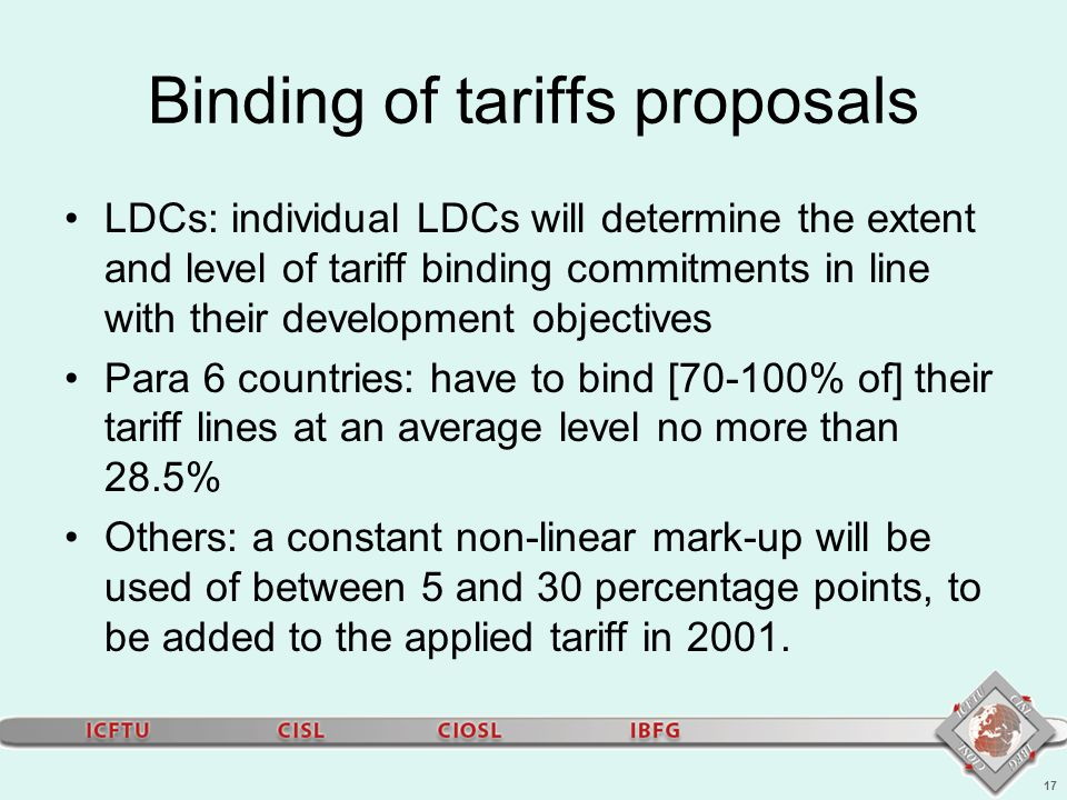 17 Binding of tariffs proposals LDCs: individual LDCs will determine the extent and level of tariff binding commitments in line with their development objectives Para 6 countries: have to bind [70-100% of] their tariff lines at an average level no more than 28.5% Others: a constant non-linear mark-up will be used of between 5 and 30 percentage points, to be added to the applied tariff in 2001.