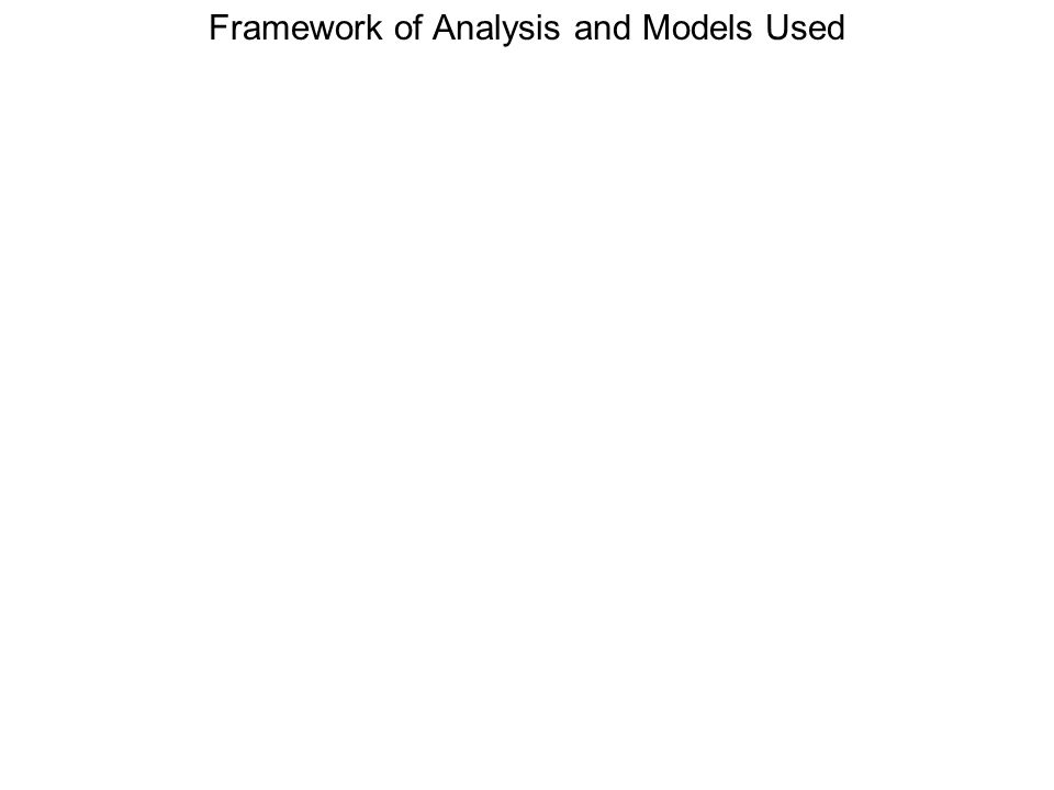 Framework of Analysis and Models Used