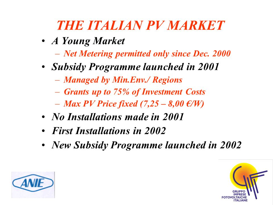 THE ITALIAN PV MARKET A Young Market –Net Metering permitted only since Dec.