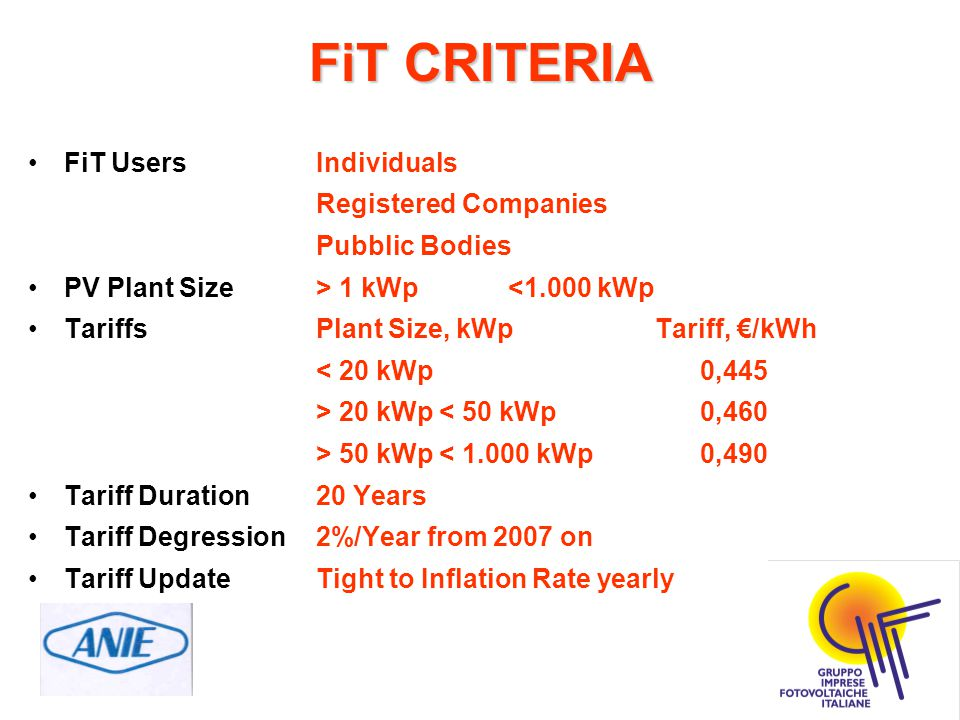 FiT CRITERIA FiT UsersIndividuals Registered Companies Pubblic Bodies PV Plant Size> 1 kWp<1.000 kWp TariffsPlant Size, kWp Tariff, €/kWh < 20 kWp0,44