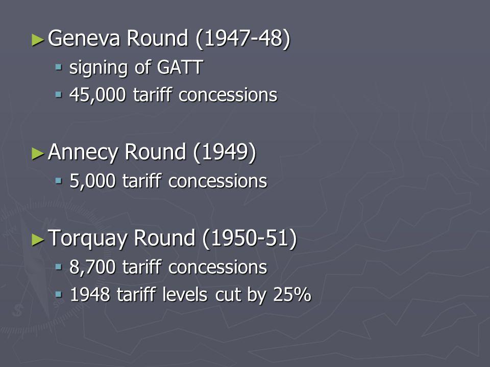 ► Geneva Round (1947-48)  signing of GATT  45,000 tariff concessions ► Annecy Round (1949)  5,000 tariff concessions ► Torquay Round (1950-51)  8,700 tariff concessions  1948 tariff levels cut by 25%
