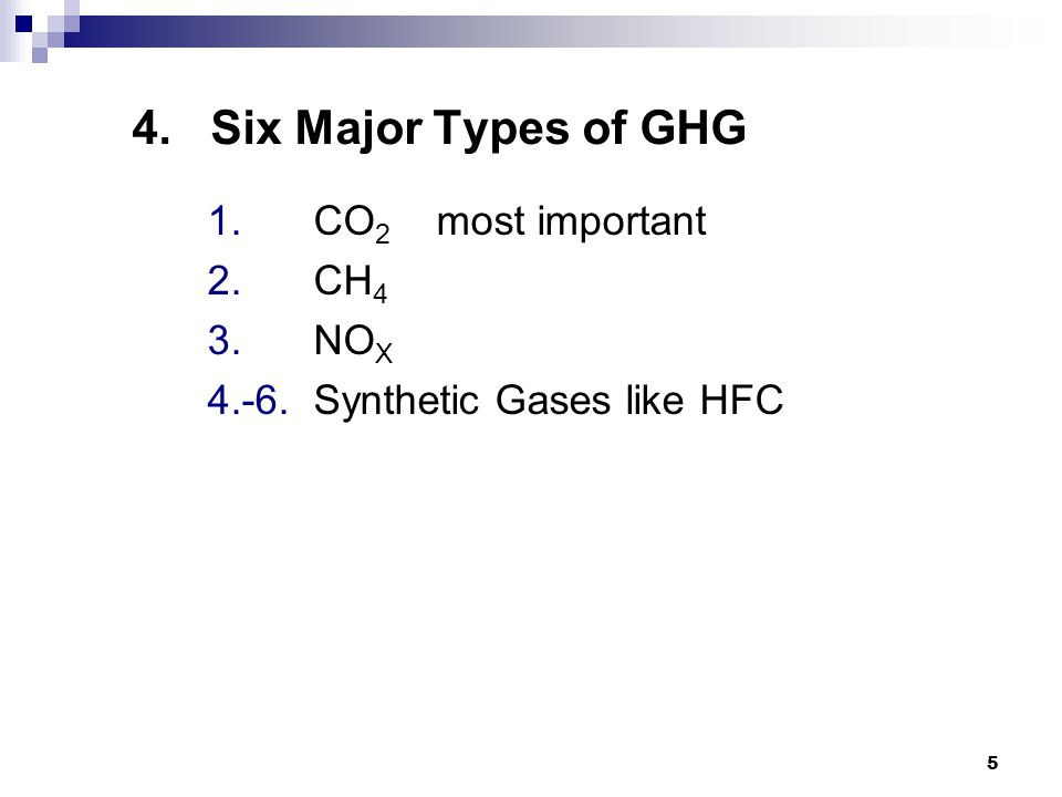 5 4. Six Major Types of GHG 1. CO 2 most important 2. CH 4 3. NO X 4.-6. Synthetic Gases like HFC