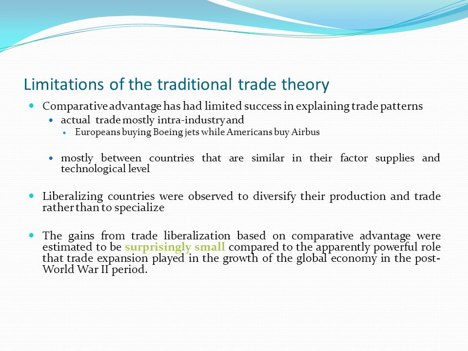 The New Trade Theory The New Theory of international trade (Krugman,1980; Helpman, 1981; Ethier, 1982): considers the industry as its basic unit for analysis.