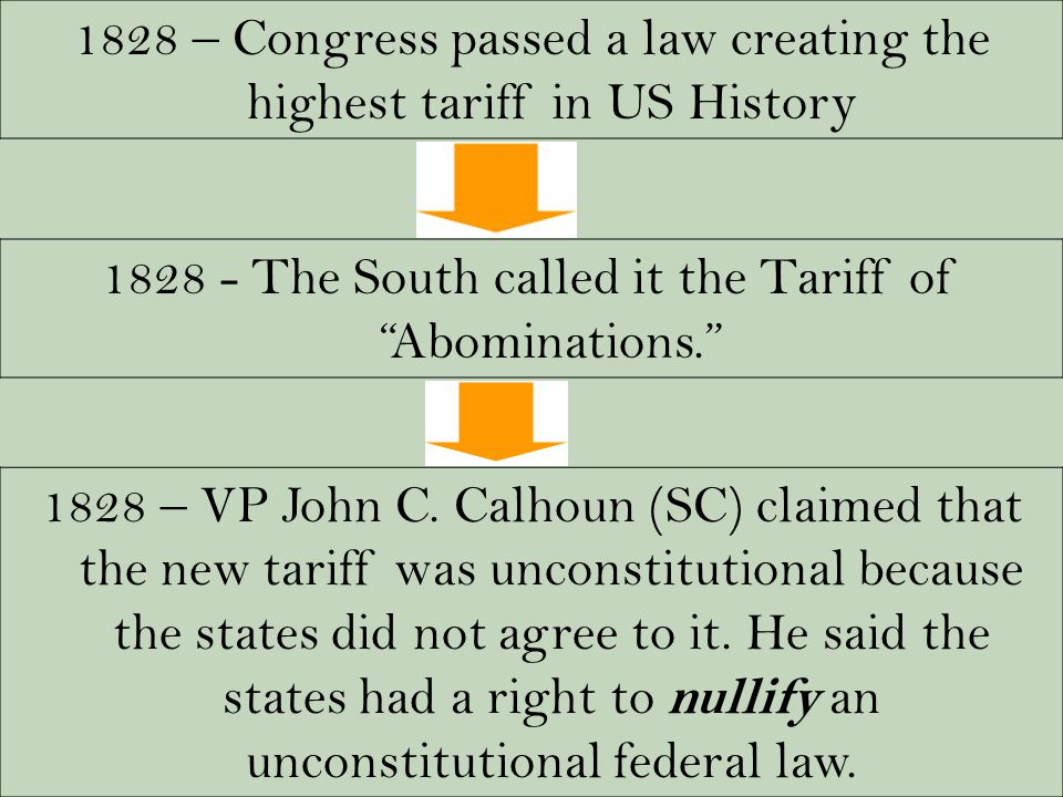"1828 – Congress passed a law creating the highest tariff in US History 1828 - The South called it the Tariff of ""Abominations."" 1828 – VP John C. Calh"