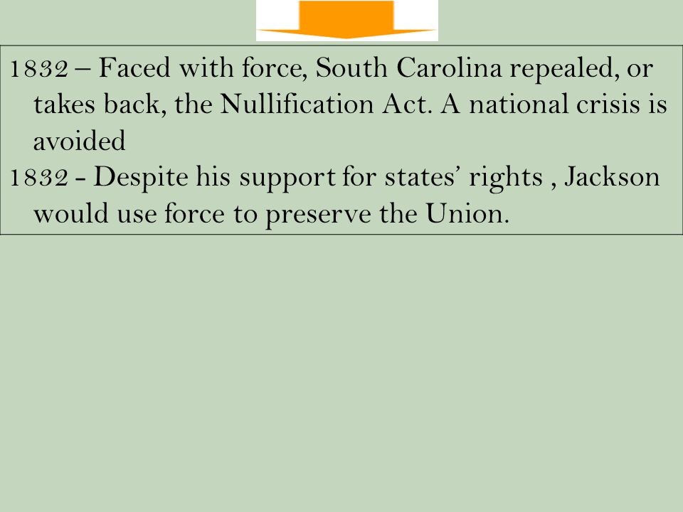 1832 – Faced with force, South Carolina repealed, or takes back, the Nullification Act.