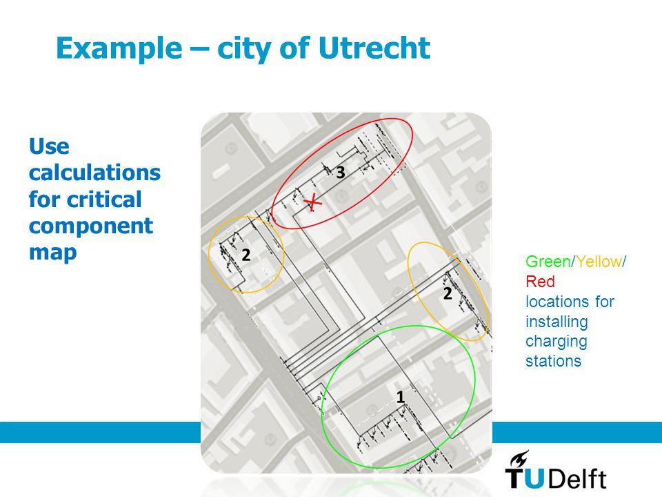Example – city of Utrecht Use calculations for critical component map Green/Yellow/ Red locations for installing charging stations