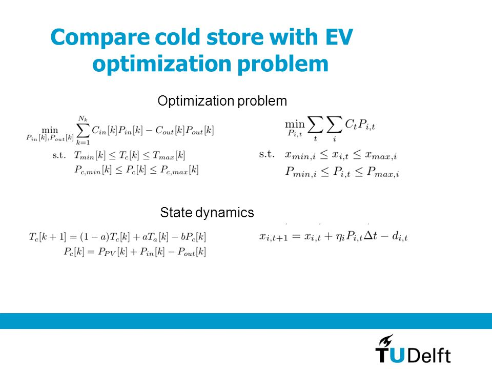 Compare cold store with EV optimization problem Optimization problem State dynamics