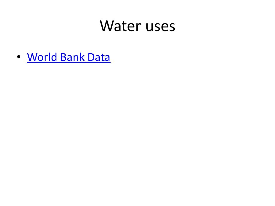 Water uses World Bank Data