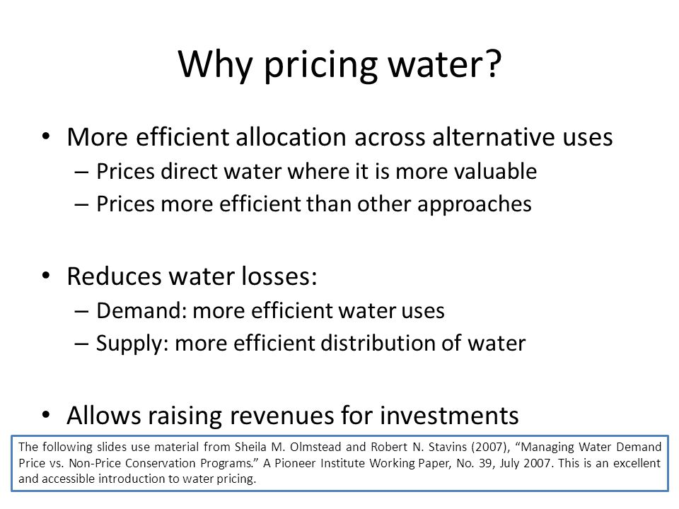 Why pricing water.