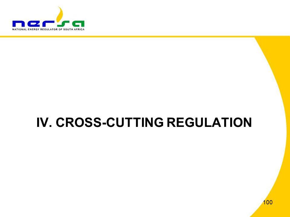 100 IV. CROSS-CUTTING REGULATION
