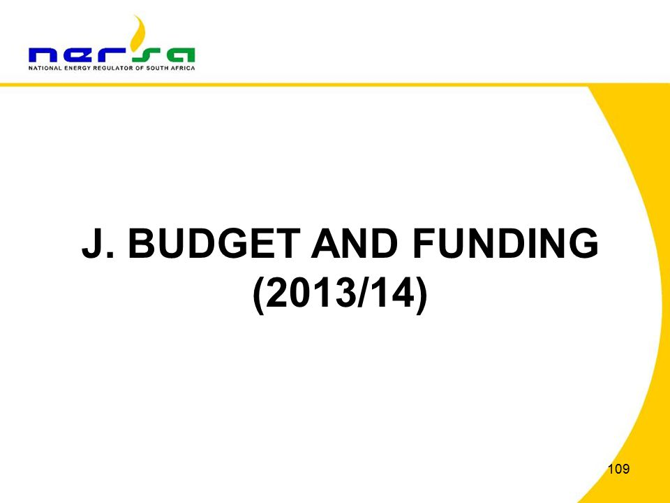 109 J. BUDGET AND FUNDING (2013/14)