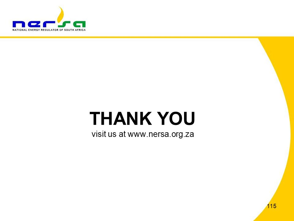 115 THANK YOU visit us at www.nersa.org.za