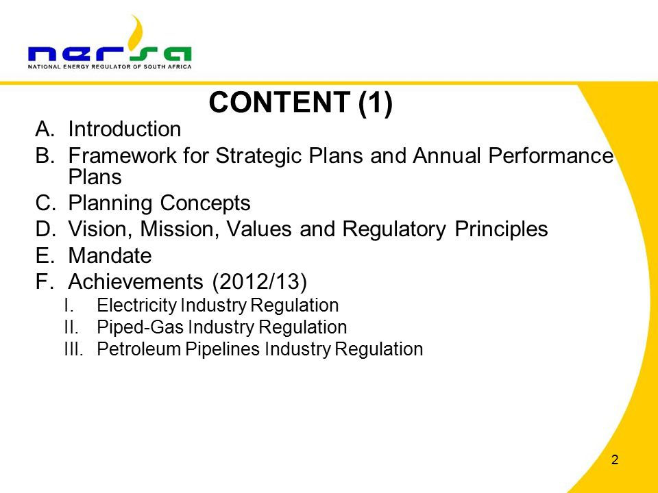43 Challenge (2)NERSA's ResponseProgramme Entry to and competition within the gas market Promote entry and competition o Licence construction applications o Compliance framework implementation and monitoring o Third Part Access enforcement and advocacy Licensing and Registration Compliance monitoring and enforcement Loss of credibility and regulatory reputation can deter development of the gas market Create regulatory certaintyEstablishing NERSA as an efficient and effective regulator