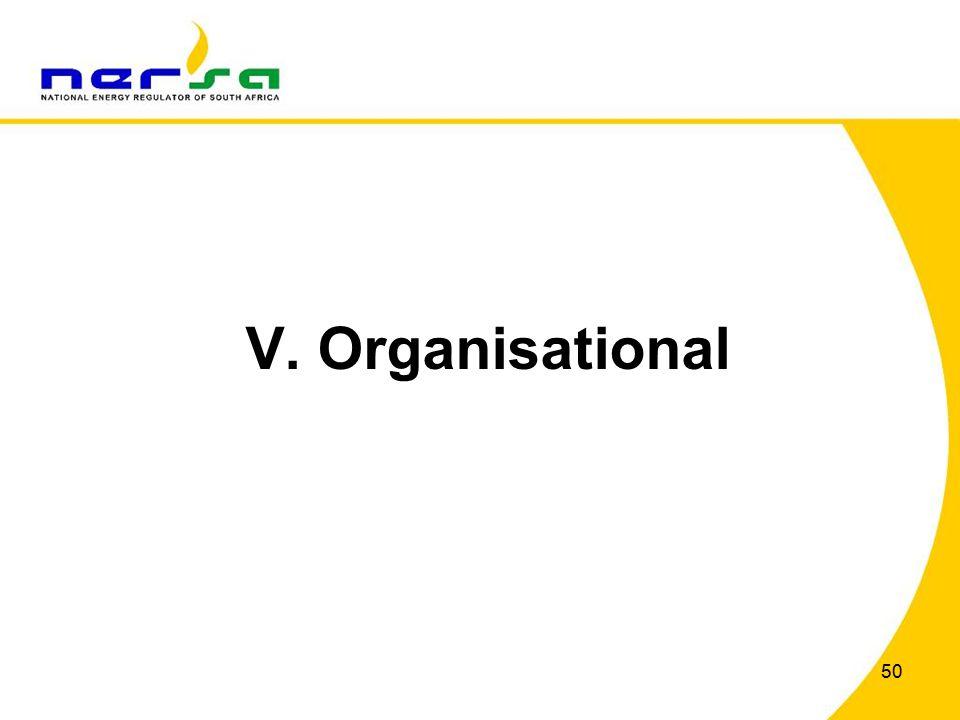 50 V. Organisational