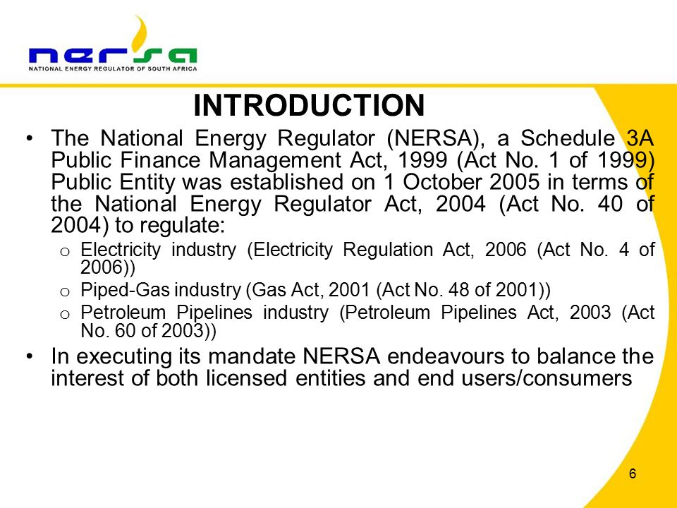 27 OUTCOME 2: A LONG AND HEALTHY LIFE FOR ALL SOUTH AFRICANS NERSA contributes through: o Offering advice/comment with regards to cleaner fuels; o Driving renewable energy programmes and promoting the introduction of renewables and gas into the energy mix; o In determining electricity pricing, NERSA has set aside 3.2c/kWh in the second Multi-Year Price Determination (MYPD2) for the Electrification Cross-subsidy; o Taking affordability into consideration when setting and/or approving tariffs and prices; o Implementing inclining block tariffs to protect the low income electricity consumers; and o Regulating in a manner which facilitates security of supply.