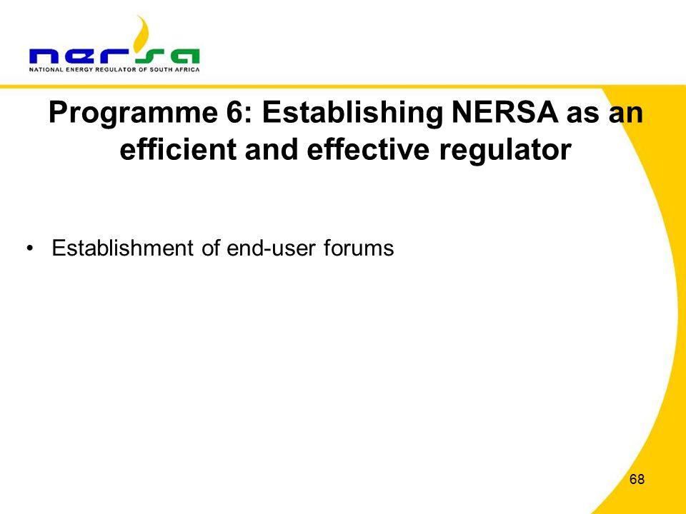 68 Programme 6: Establishing NERSA as an efficient and effective regulator Establishment of end-user forums