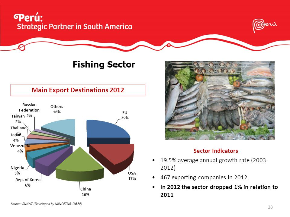 28 Sector Indicators 19.5% average annual growth rate (2003- 2012) 467 exporting companies in 2012 In 2012 the sector dropped 1% in relation to 2011 Fishing Sector Main Export Destinations 2012 Source: SUNAT (Developed by MINCETUR-OGEE)